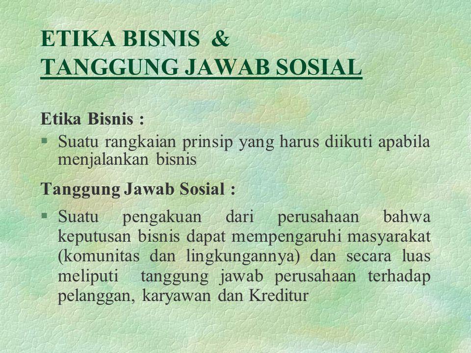 ETIKA BISNIS & TANGGUNG JAWAB SOSIAL