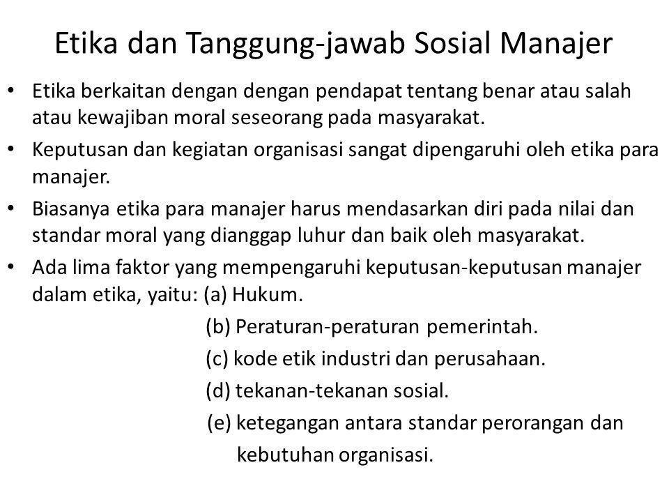 Etika dan Tanggung-jawab Sosial Manajer