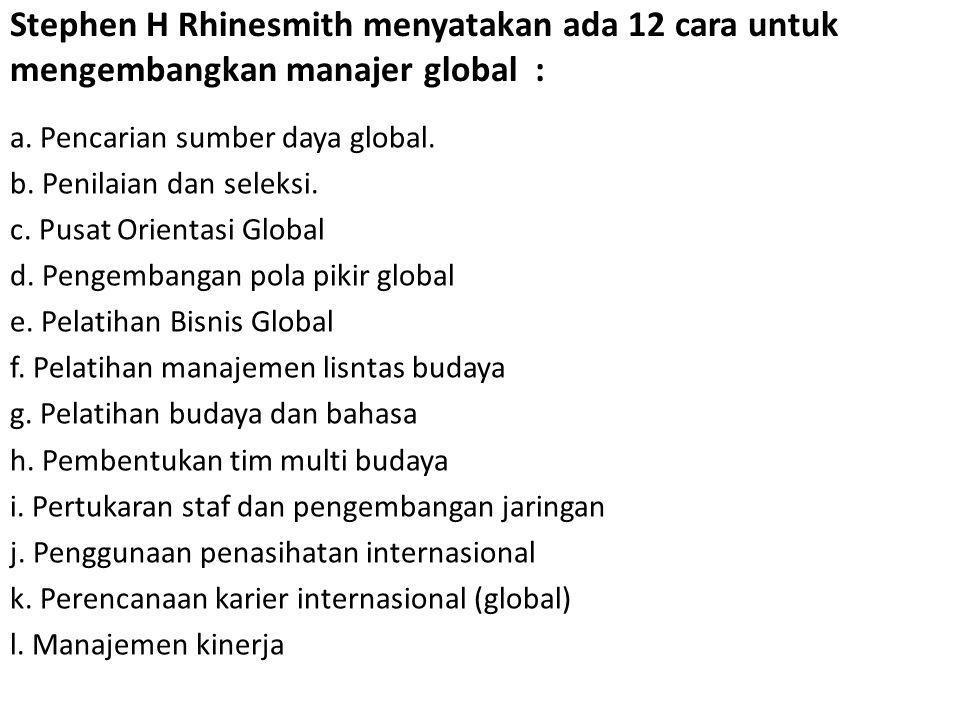 Stephen H Rhinesmith menyatakan ada 12 cara untuk mengembangkan manajer global :