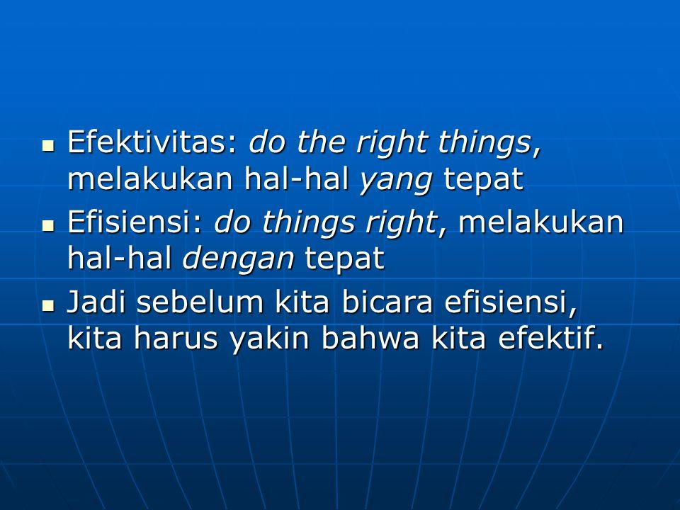 Efektivitas: do the right things, melakukan hal-hal yang tepat