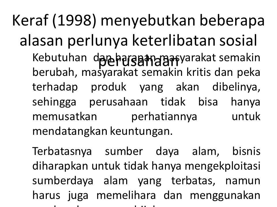 Keraf (1998) menyebutkan beberapa alasan perlunya keterlibatan sosial perusahaan