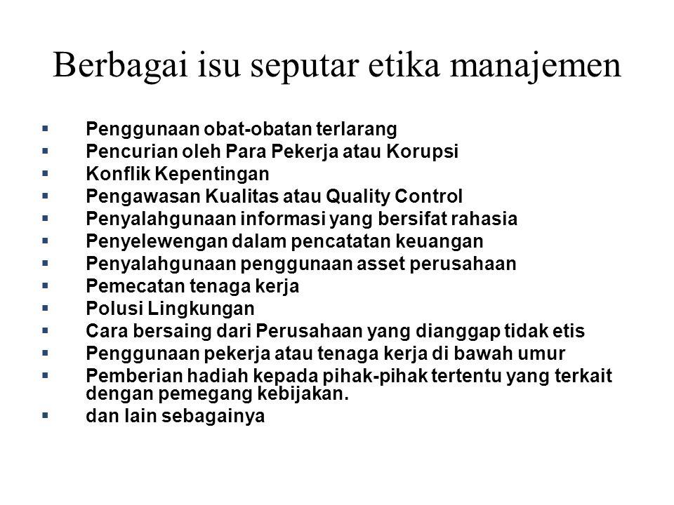 Berbagai isu seputar etika manajemen