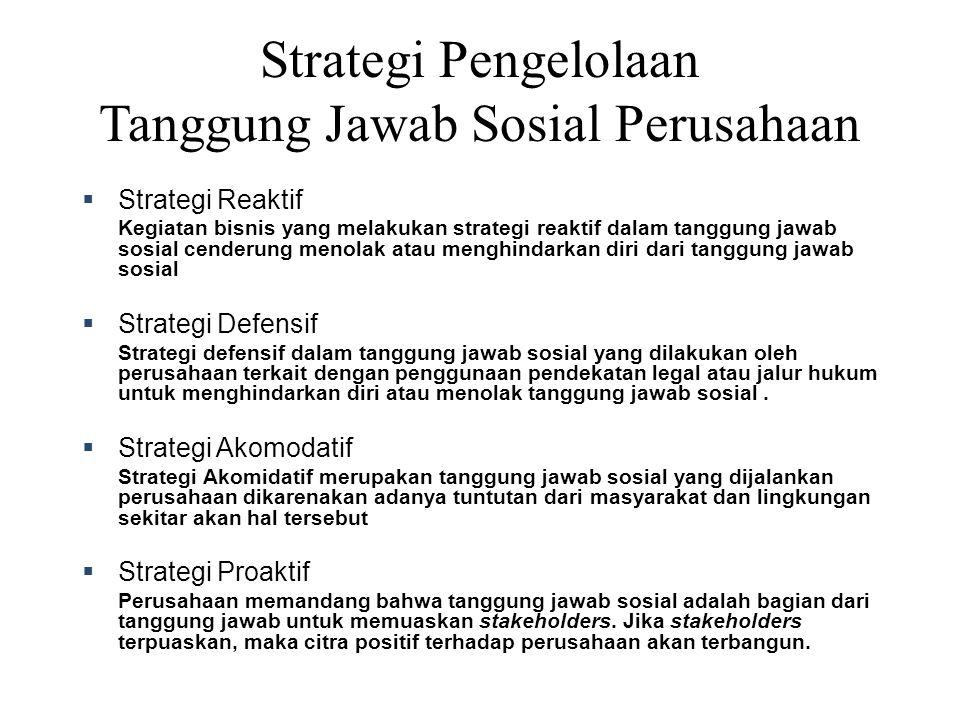 Strategi Pengelolaan Tanggung Jawab Sosial Perusahaan