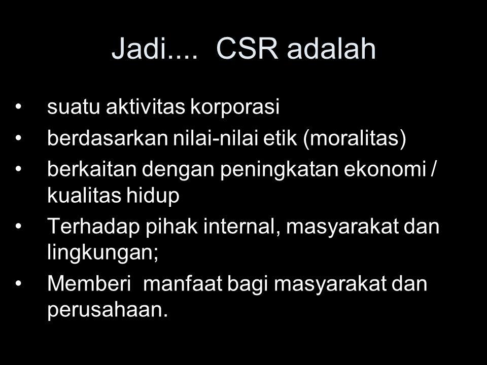 Jadi.... CSR adalah suatu aktivitas korporasi