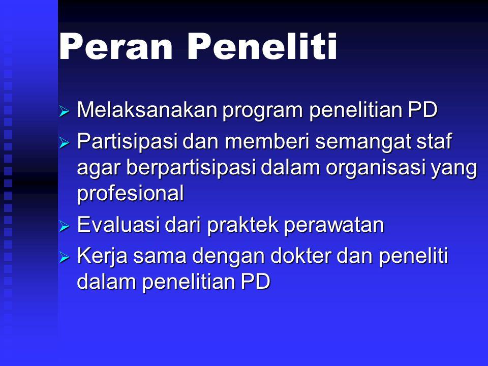Peran Peneliti Melaksanakan program penelitian PD