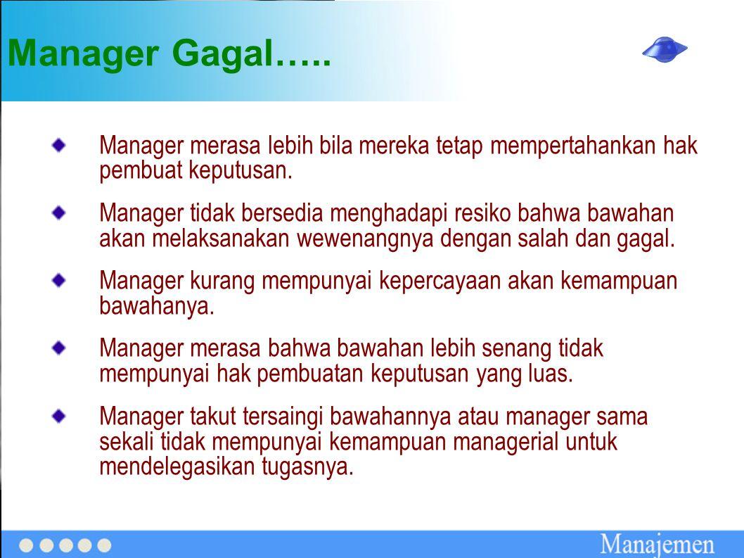 Manager Gagal….. Manager merasa lebih bila mereka tetap mempertahankan hak pembuat keputusan.