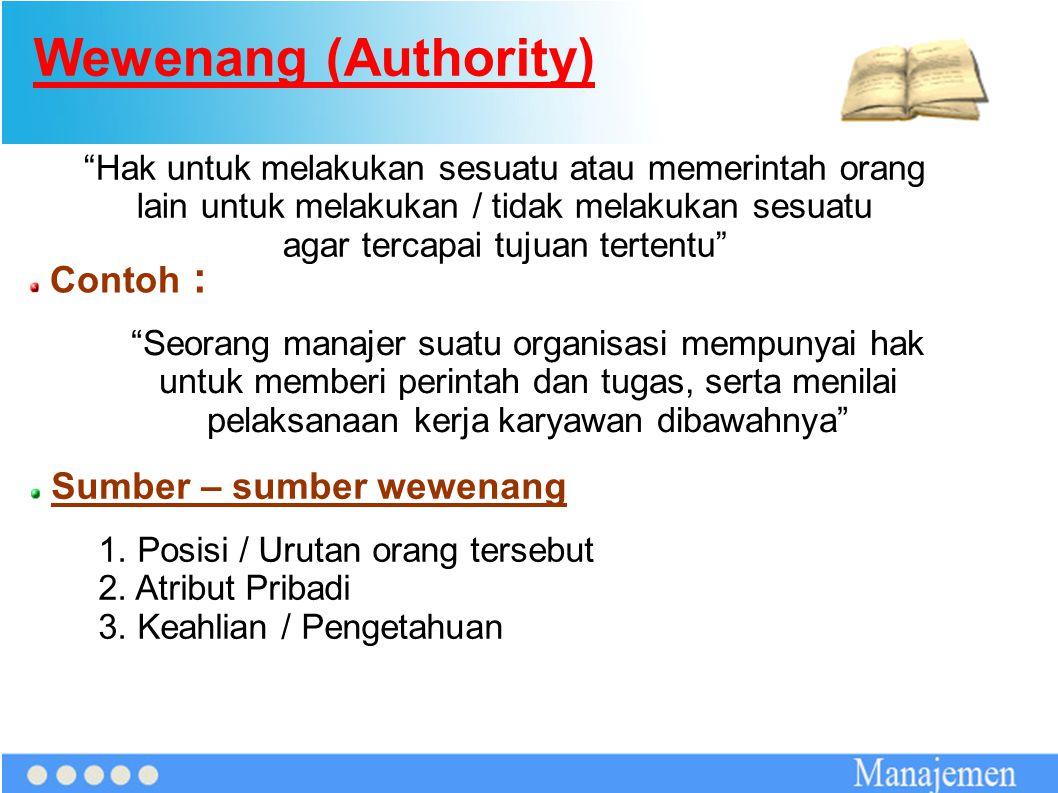 Wewenang (Authority) Contoh : Sumber – sumber wewenang