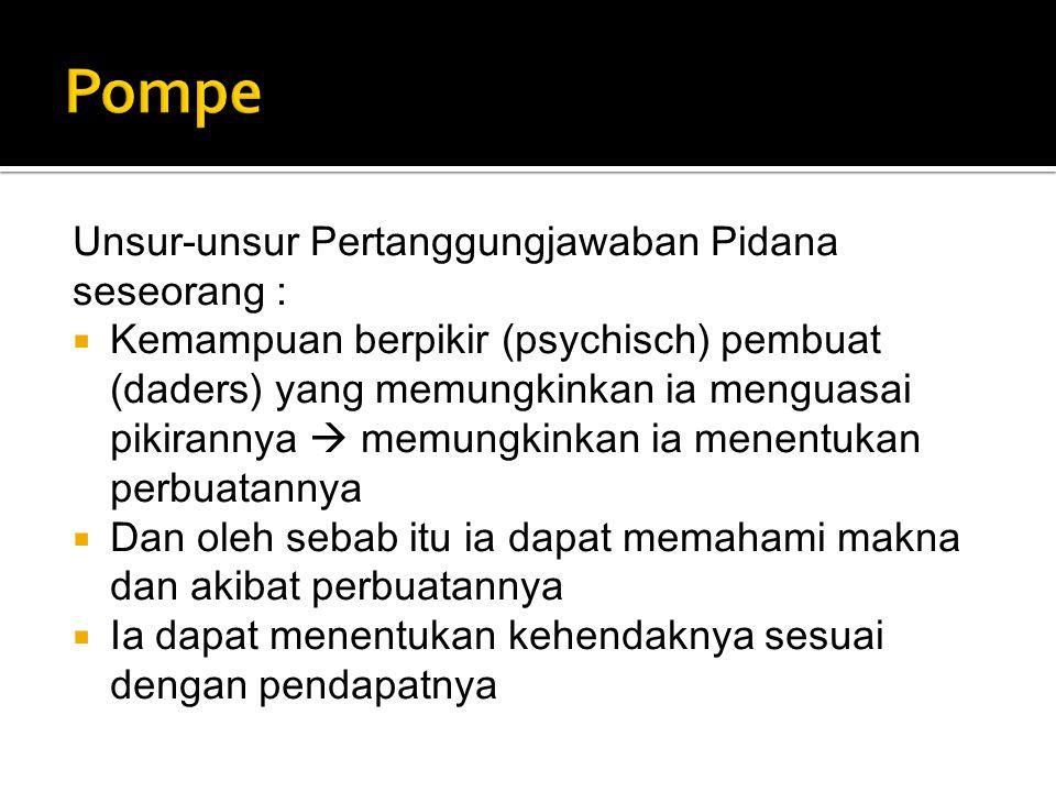 Pompe Unsur-unsur Pertanggungjawaban Pidana seseorang :