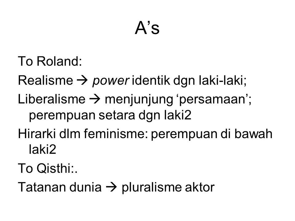 A's To Roland: Realisme  power identik dgn laki-laki;