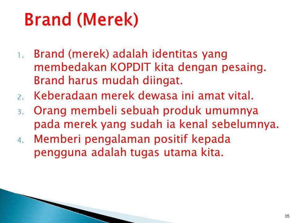 Brand (Merek) Brand (merek) adalah identitas yang membedakan KOPDIT kita dengan pesaing. Brand harus mudah diingat.