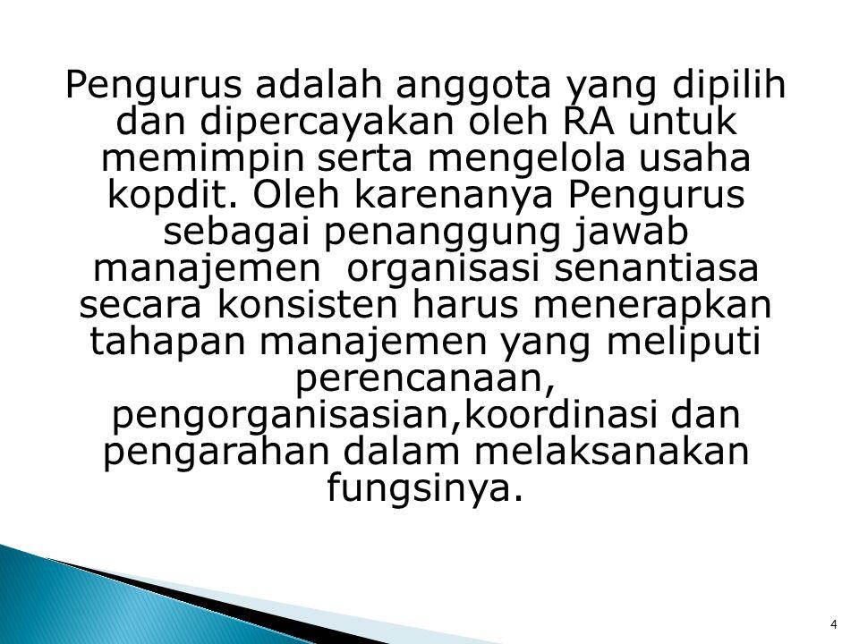 Pengurus adalah anggota yang dipilih dan dipercayakan oleh RA untuk memimpin serta mengelola usaha kopdit.