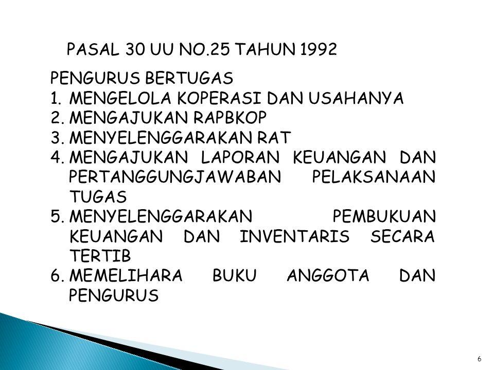 PASAL 30 UU NO.25 TAHUN 1992 PENGURUS BERTUGAS. MENGELOLA KOPERASI DAN USAHANYA. MENGAJUKAN RAPBKOP.