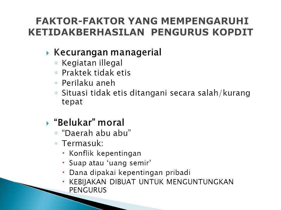 FAKTOR-FAKTOR YANG MEMPENGARUHI KETIDAKBERHASILAN PENGURUS KOPDIT