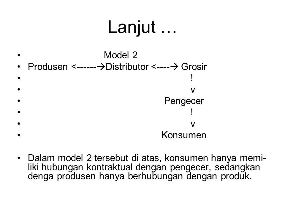 Lanjut … Model 2 Produsen <------Distributor <---- Grosir ! v