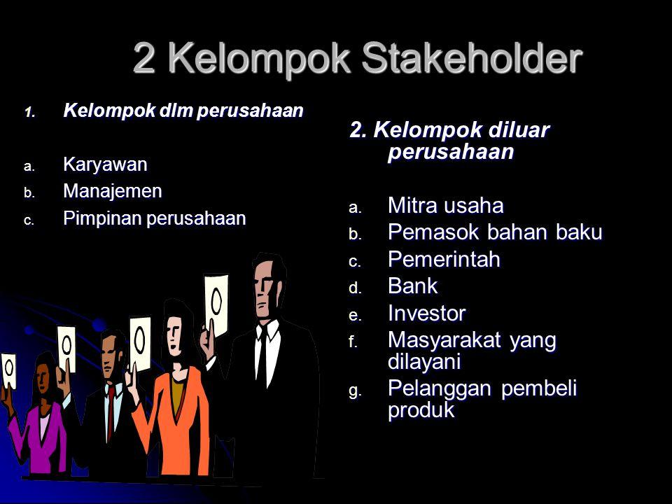 2 Kelompok Stakeholder 2. Kelompok diluar perusahaan Mitra usaha