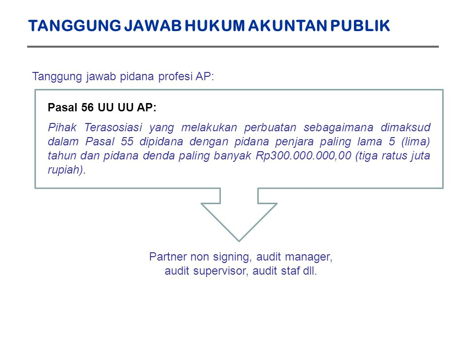 Partner non signing, audit manager, audit supervisor, audit staf dll.