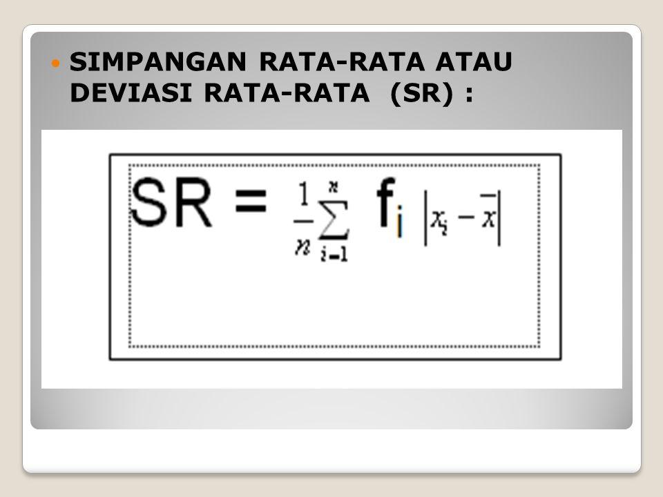 SIMPANGAN RATA-RATA ATAU DEVIASI RATA-RATA (SR) :
