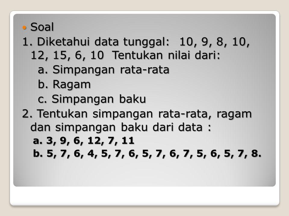 2. Tentukan simpangan rata-rata, ragam dan simpangan baku dari data :