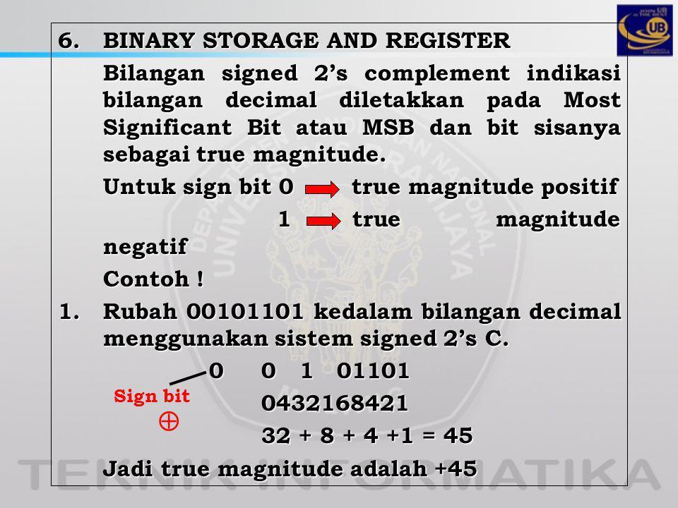 6. BINARY STORAGE AND REGISTER Bilangan signed 2's complement indikasi bilangan decimal diletakkan pada Most Significant Bit atau MSB dan bit sisanya sebagai true magnitude. Untuk sign bit 0 true magnitude positif 1 true magnitude negatif Contoh ! 1. Rubah 00101101 kedalam bilangan decimal menggunakan sistem signed 2's C. 0 0 1 01101 0432168421 32 + 8 + 4 +1 = 45 Jadi true magnitude adalah +45