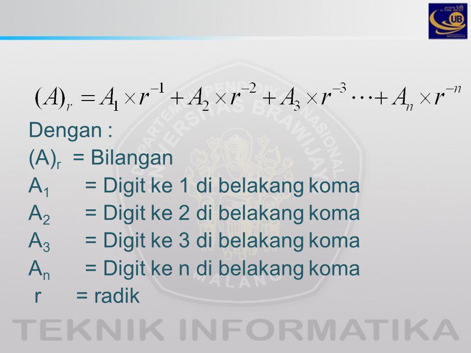 Dengan : (A)r = Bilangan. A1 = Digit ke 1 di belakang koma. A2 = Digit ke 2 di belakang koma.