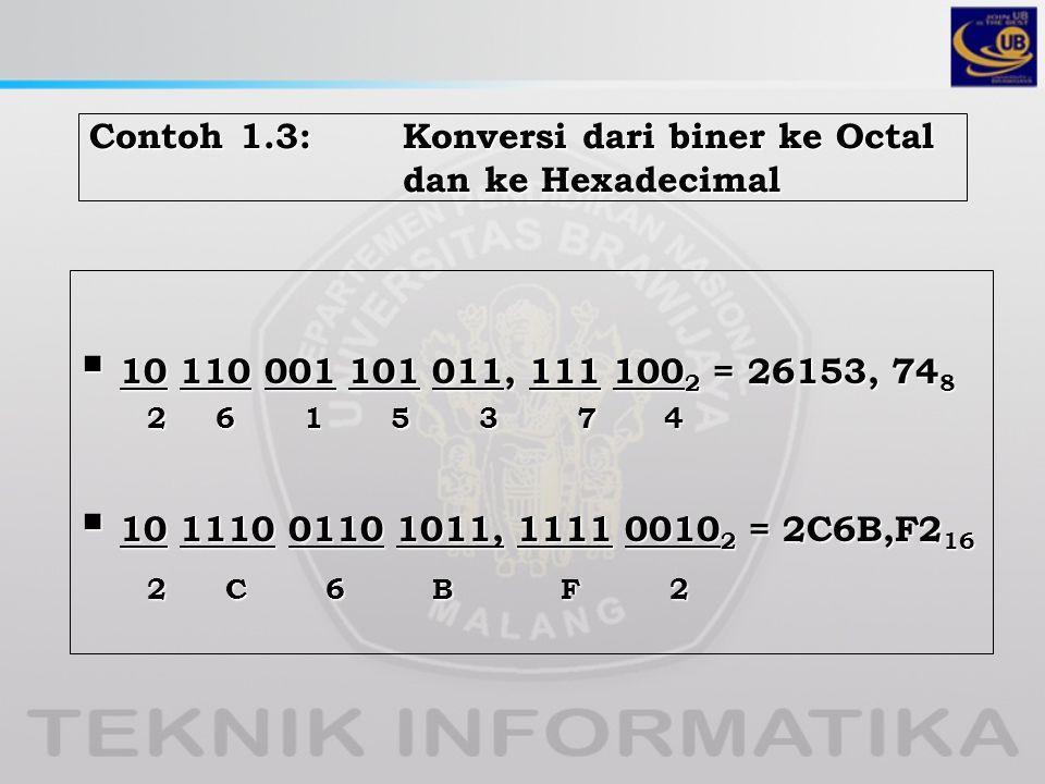 Contoh 1.3: Konversi dari biner ke Octal dan ke Hexadecimal