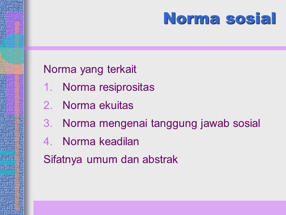 Norma sosial Norma yang terkait Norma resiprositas Norma ekuitas