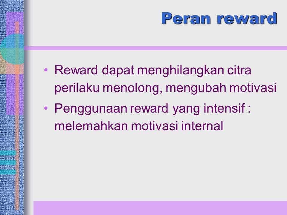 Peran reward Reward dapat menghilangkan citra perilaku menolong, mengubah motivasi.