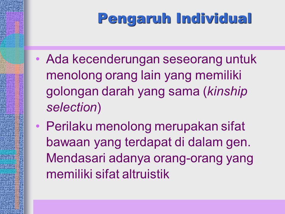 Pengaruh Individual Ada kecenderungan seseorang untuk menolong orang lain yang memiliki golongan darah yang sama (kinship selection)