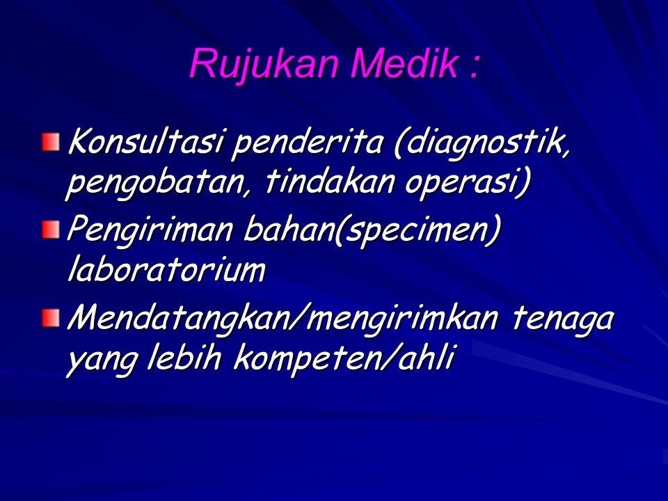 Rujukan Medik : Konsultasi penderita (diagnostik, pengobatan, tindakan operasi) Pengiriman bahan(specimen) laboratorium.