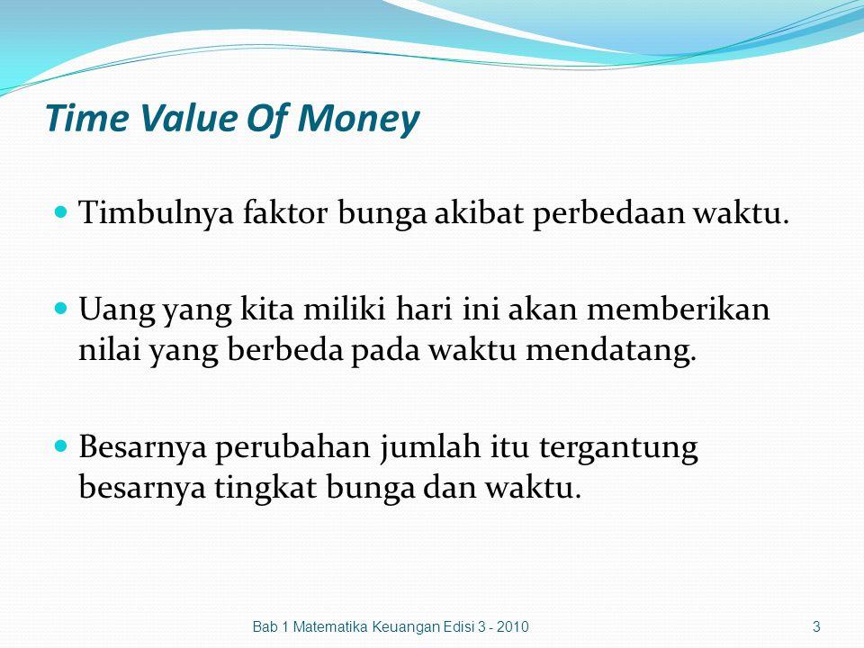 Time Value Of Money Timbulnya faktor bunga akibat perbedaan waktu.