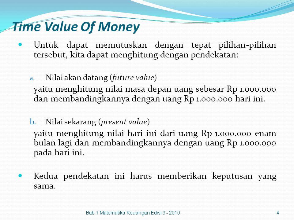 Time Value Of Money Untuk dapat memutuskan dengan tepat pilihan-pilihan tersebut, kita dapat menghitung dengan pendekatan: