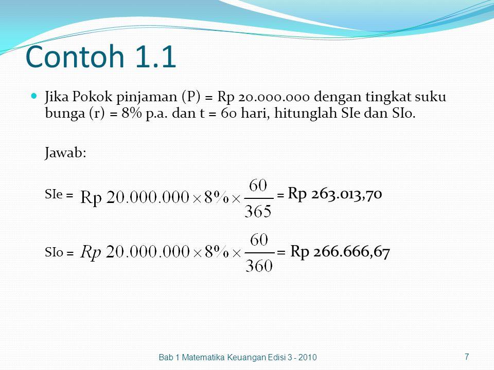 Contoh 1.1 Jika Pokok pinjaman (P) = Rp 20.000.000 dengan tingkat suku bunga (r) = 8% p.a. dan t = 60 hari, hitunglah SIe dan SIo.