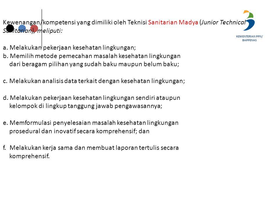 Kewenangan/kompetensi yang dimiliki oleh Teknisi Sanitarian Madya (Junior Technical Sanitarian), meliputi: