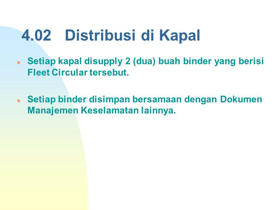 4.02 Distribusi di Kapal Setiap kapal disupply 2 (dua) buah binder yang berisi Fleet Circular tersebut.