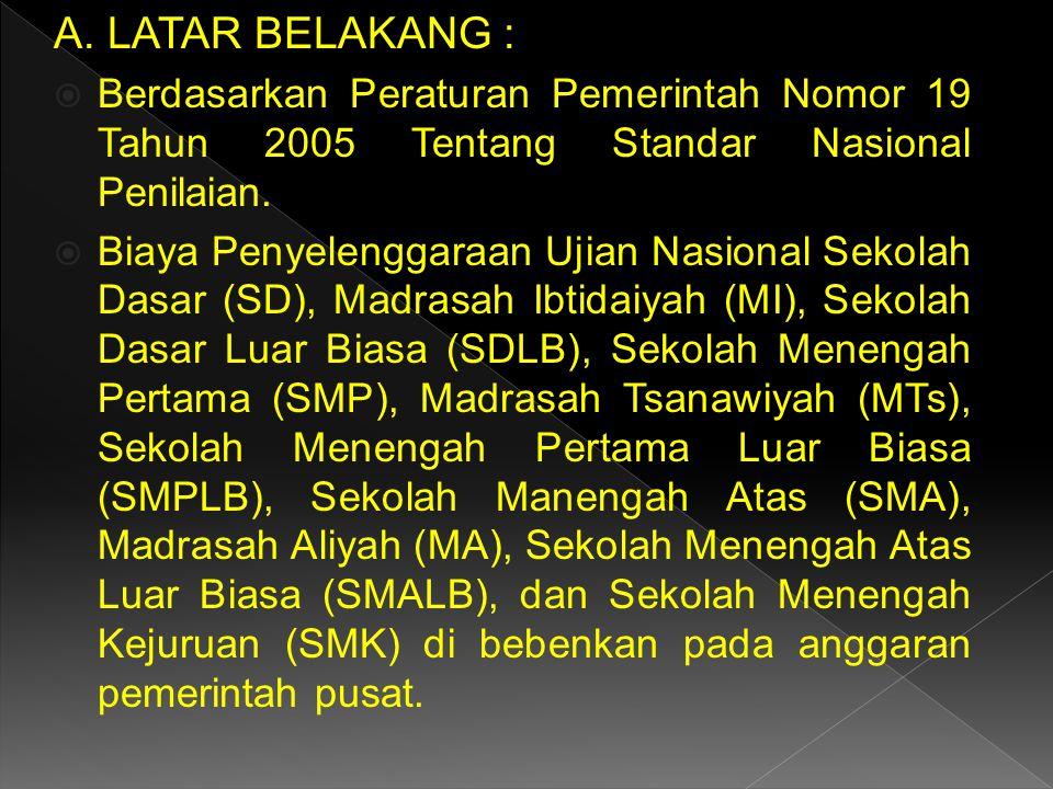 A. LATAR BELAKANG : Berdasarkan Peraturan Pemerintah Nomor 19 Tahun 2005 Tentang Standar Nasional Penilaian.