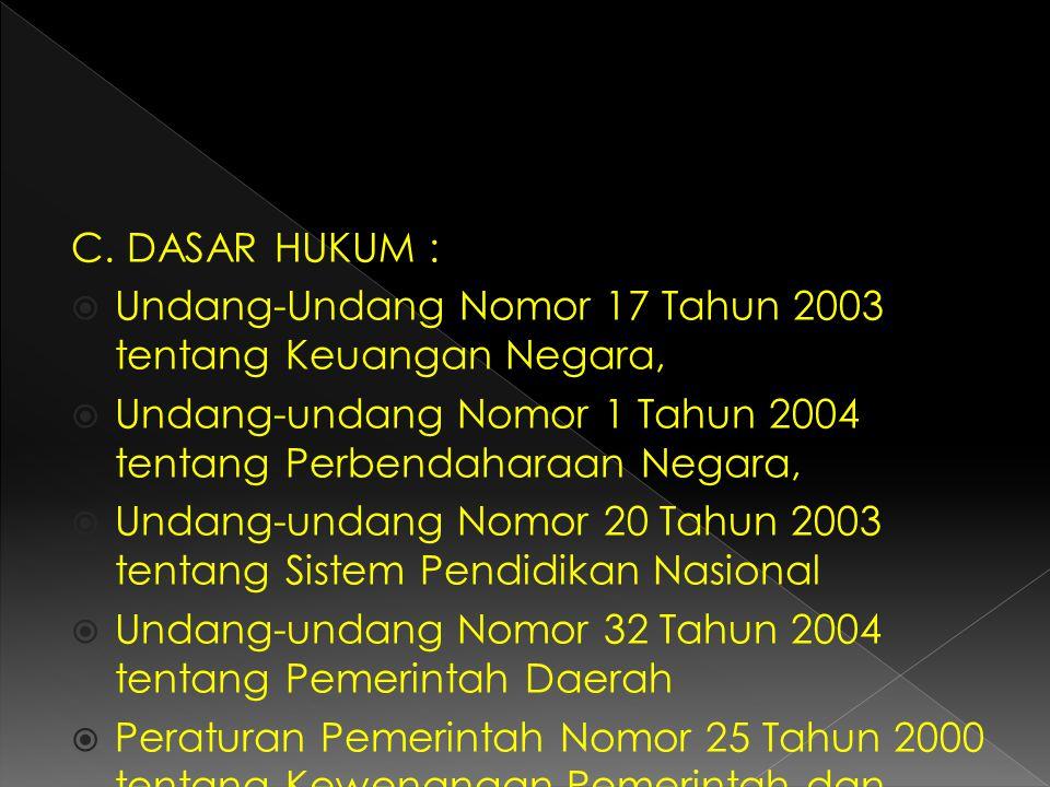 C. DASAR HUKUM : Undang-Undang Nomor 17 Tahun 2003 tentang Keuangan Negara, Undang-undang Nomor 1 Tahun 2004 tentang Perbendaharaan Negara,