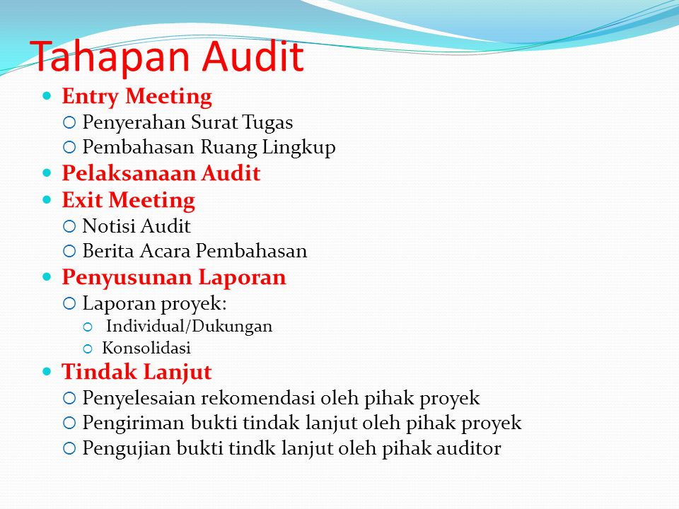Tahapan Audit Entry Meeting Pelaksanaan Audit Exit Meeting