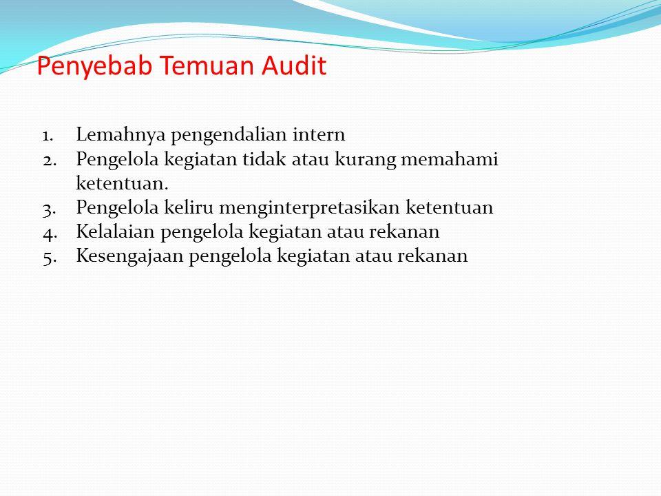 Penyebab Temuan Audit Lemahnya pengendalian intern