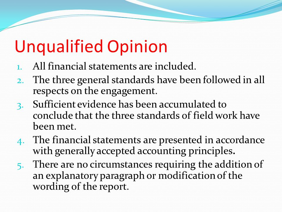 Unqualified Opinion All financial statements are included.