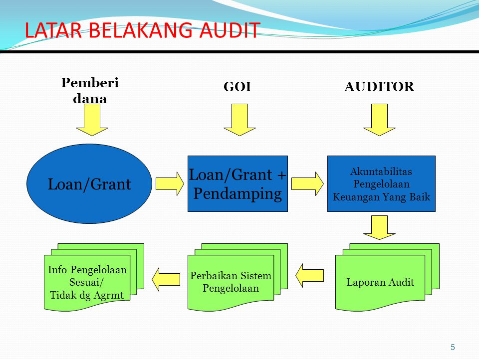 LATAR BELAKANG AUDIT Loan/Grant Loan/Grant + Pendamping Pemberi dana