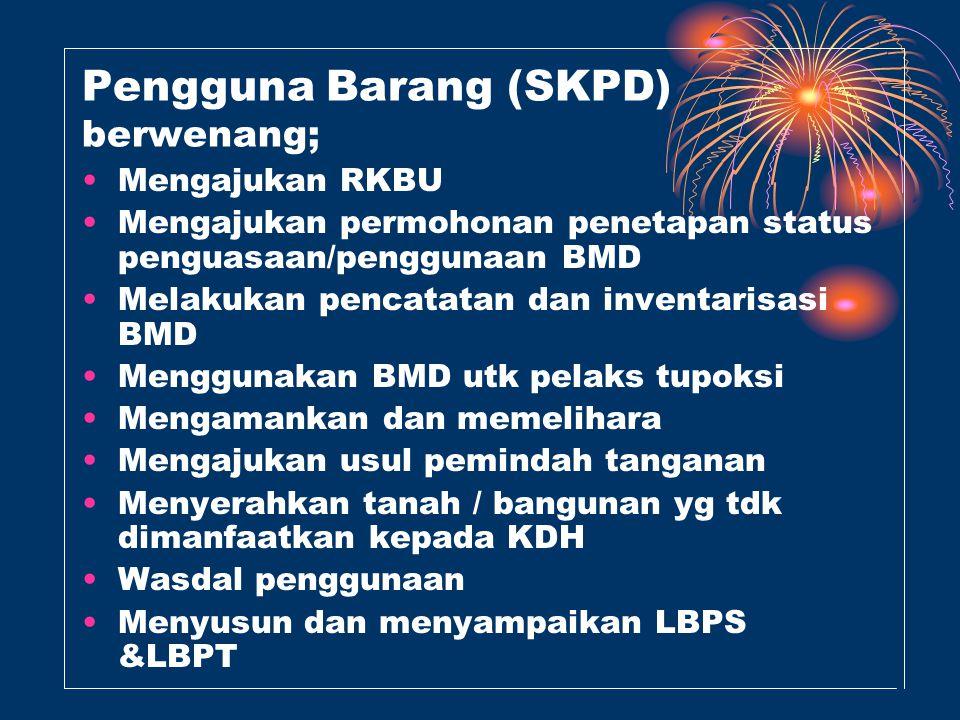 Pengguna Barang (SKPD) berwenang;