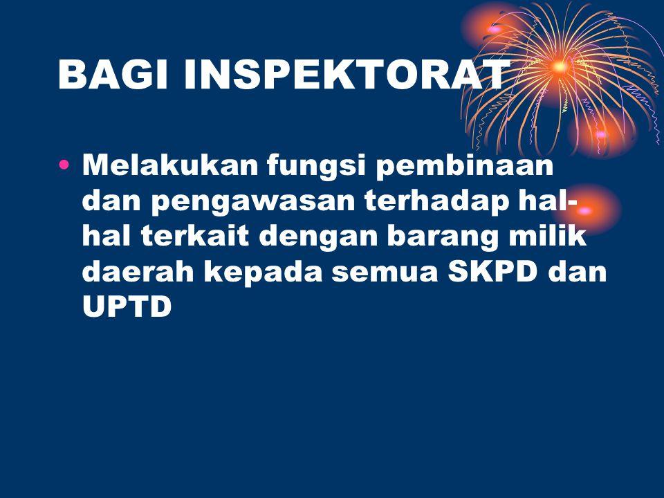 BAGI INSPEKTORAT Melakukan fungsi pembinaan dan pengawasan terhadap hal-hal terkait dengan barang milik daerah kepada semua SKPD dan UPTD.