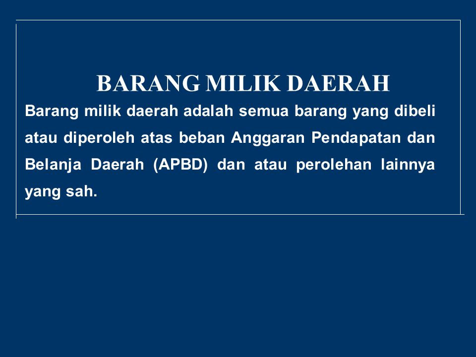BARANG MILIK DAERAH