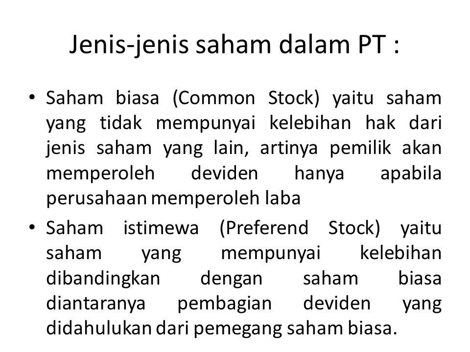 Jenis-jenis saham dalam PT :