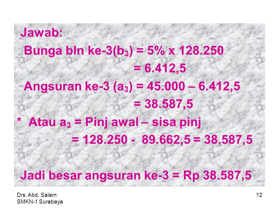 * Atau a3 = Pinj awal – sisa pinj = 128.250 - 89.662,5 = 38.587,5