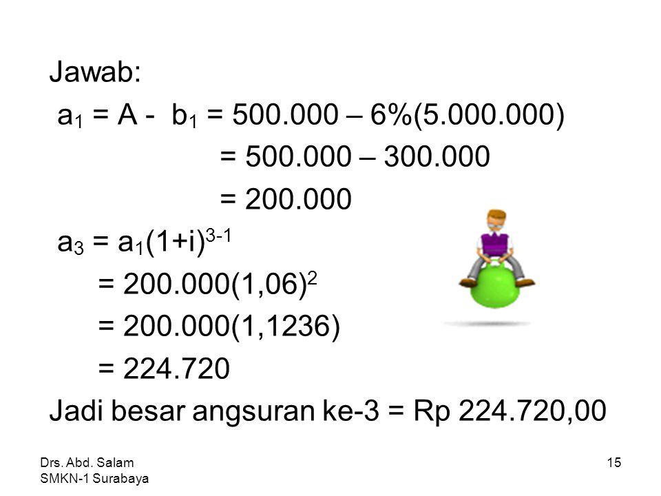 Jadi besar angsuran ke-3 = Rp 224.720,00