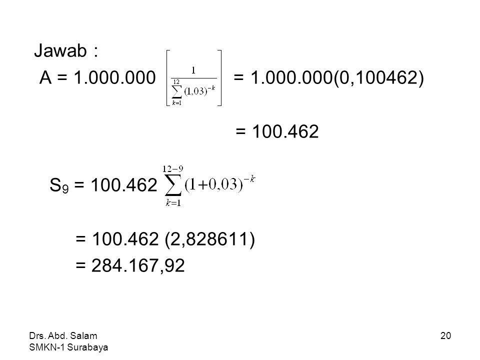 Jawab : A = 1.000.000 = 1.000.000(0,100462) = 100.462. S9 = 100.462. = 100.462 (2,828611)