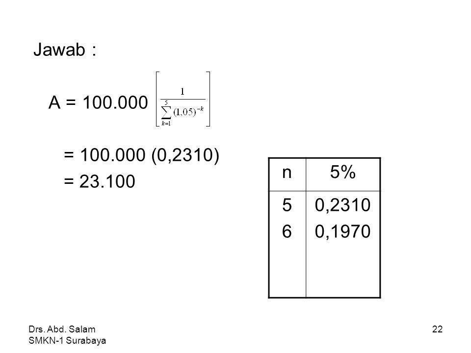 Jawab : A = 100.000. = 100.000 (0,2310) = 23.100. n. 5% 5. 6. 0,2310. 0,1970.