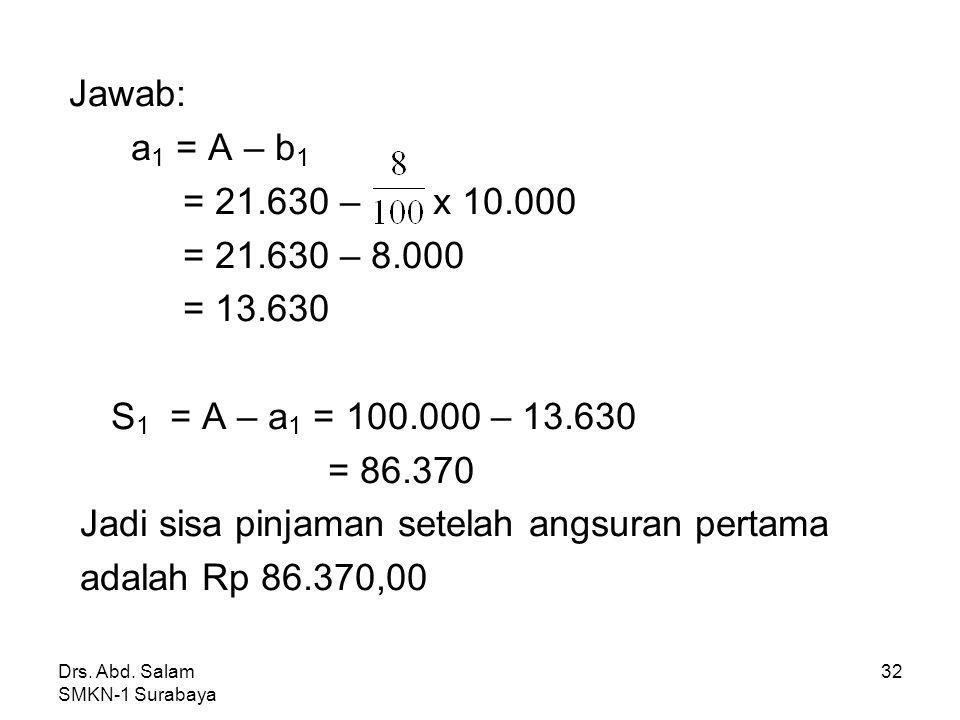 Jadi sisa pinjaman setelah angsuran pertama adalah Rp 86.370,00
