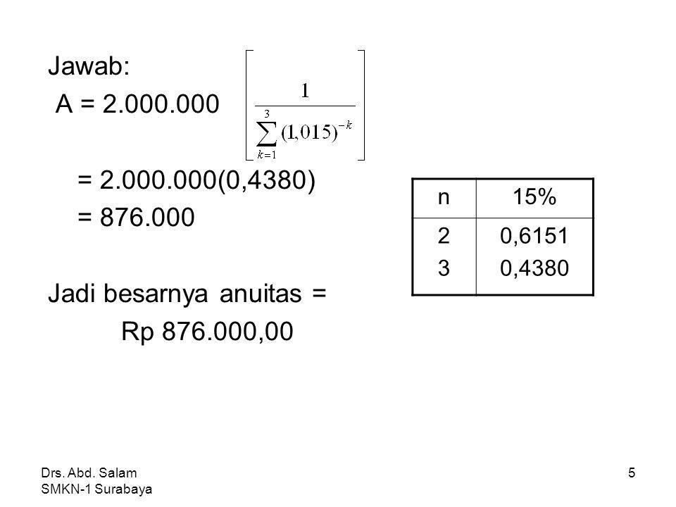 Jadi besarnya anuitas = Rp 876.000,00
